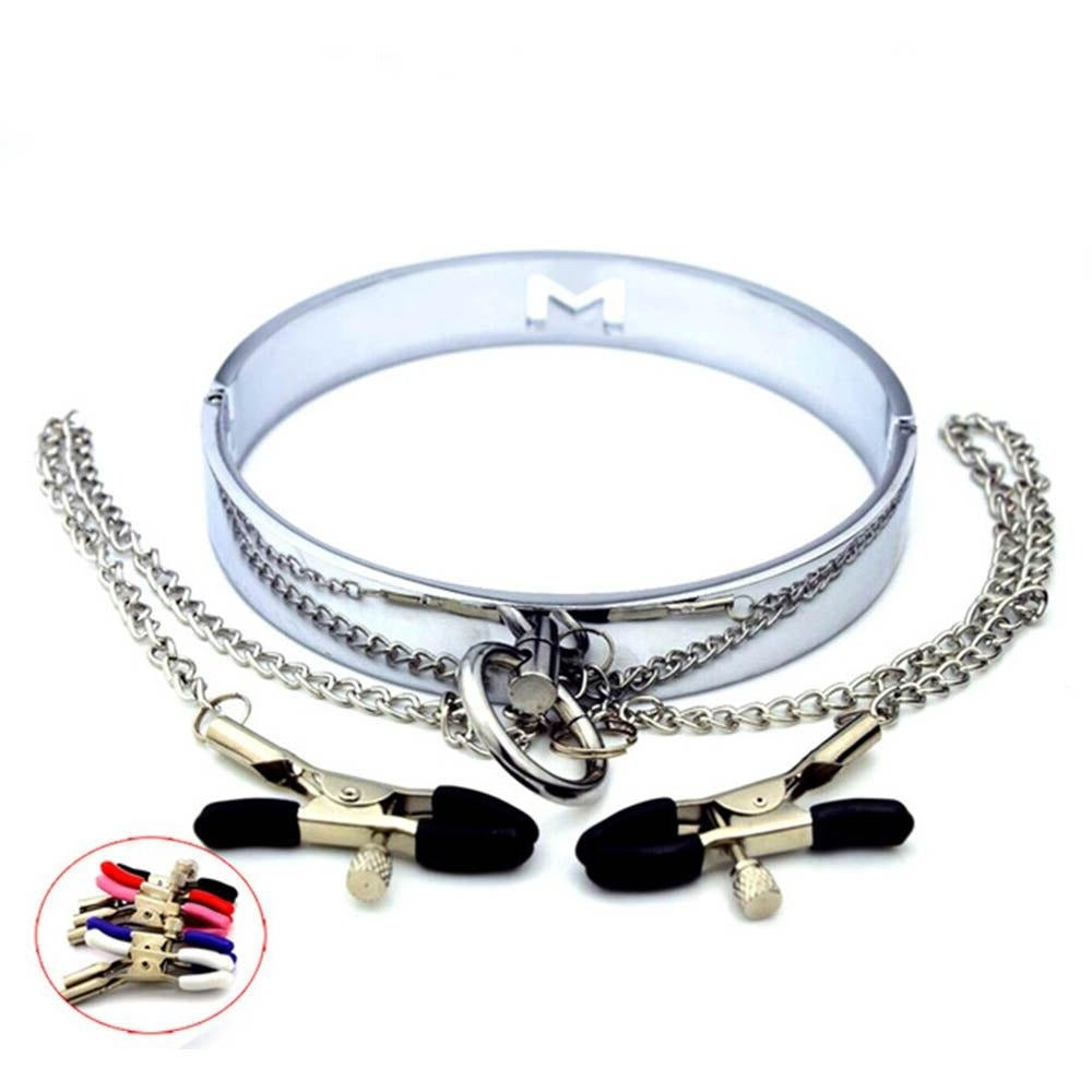 Stainless Steel Collar with Rubberized Nipple Clamps 5 Colors Available - Nipple Clamp - BDSM Collar Store