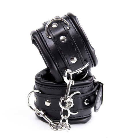 Collar with Leash Wrist and Ankle Cuffs Kit Black Vegan Leather - Cuffs - BDSM Collar Store