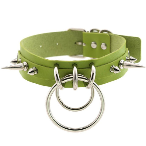 Image of Spiked Vegan Leather Collar Double Ring 16 Colors - Collar - BDSM Collar Store