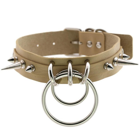 Spiked Vegan Leather Collar Double Ring 16 Colors - BDSM Collar Store
