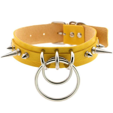 Spiked Vegan Leather Collar Double Ring 16 Colors - Collar - BDSM Collar Store