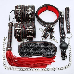 Bondage Kit 10 Piece 3 Patterned Colors Fur Lined Vegan Leather Collar Cuffs Gag Whip Mask Cross Buckle - Cuffs - BDSM Collar Store