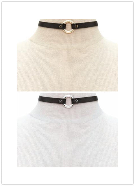 Vegan Leather Eternity Ring Day Collar 2 Pack Gold Silver - Day Collar - BDSM Collar Store
