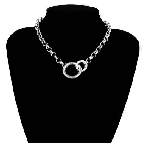 Iron Chain Double Interlocking Ring Collar 2 Colors - Collar - BDSM Collar Store