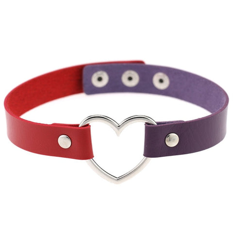Image of Heart Ring Day Collar, Vegan Leather, Mix and Match Colors, Choker - Day Collar - BDSM Collar Store