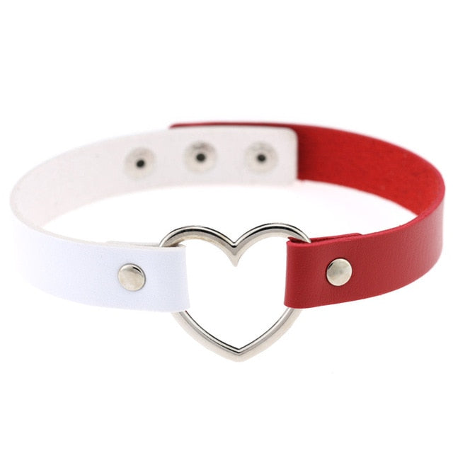 Heart Ring Day Collar, Vegan Leather, Mix and Match Colors, Choker - Day Collar - BDSM Collar Store