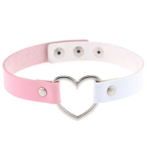 Heart Ring Day Collar, Vegan Leather, Mix and Match Colors, Choker - BDSM Collar Store