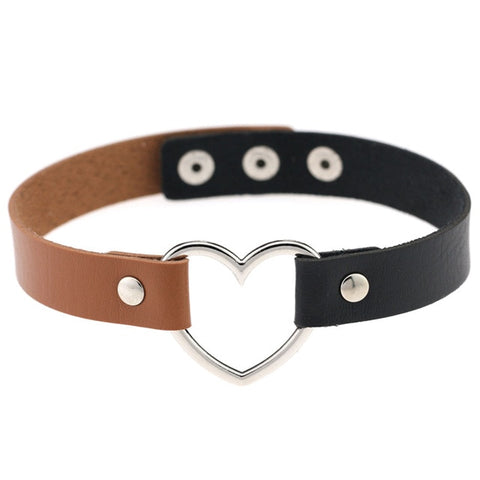 Heart Ring Day Collar, Vegan Leather, Mix and Match Colors, Choker