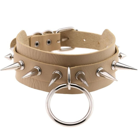 Image of Spiked Vegan Leather Collar Large Ring 15 Colors - Collar - BDSM Collar Store