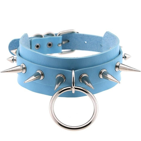 Spiked Vegan Leather Collar Large Ring 15 Colors - BDSM Collar Store