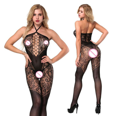 Image of Crotchless Lingerie Bodystocking in Purple, Red, White or Black, 6 Different Styles - Clothing - BDSM Collar Store