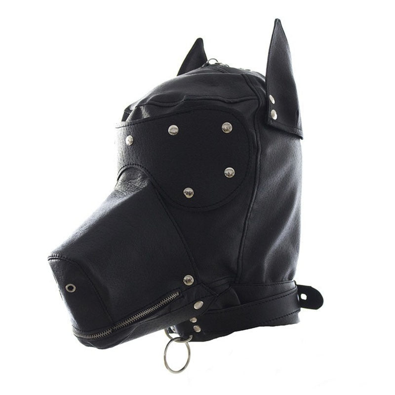 Puppy Mask, Vegan Leather, Pet Play Hood, with Snap-On Blindfold - Hood - BDSM Collar Store