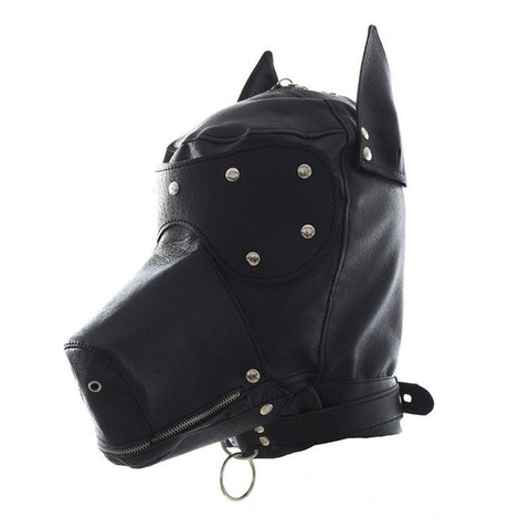 Image of Puppy Mask, Vegan Leather, Pet Play Hood, with Snap-On Blindfold - Hood - BDSM Collar Store