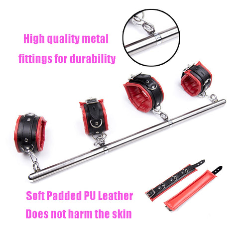 Image of Spreader Bar, 4 Padded Cuffs, Vegan Leather and Metal, Red or Black, Mix and Match 16.99 - 42.99 - Cuffs - BDSM Collar Store