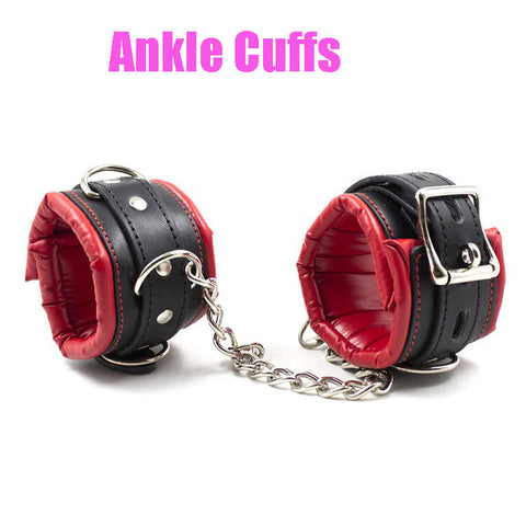 Spreader Bar, 4 Padded Cuffs, Vegan Leather and Metal, Red or Black, Mix and Match 19.99 - 49.99 - Cuffs - BDSM Collar Store