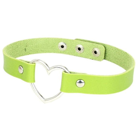Heart Ring Day Collar, Vegan Leather, 12 Colors, Choker - BDSM Collar Store