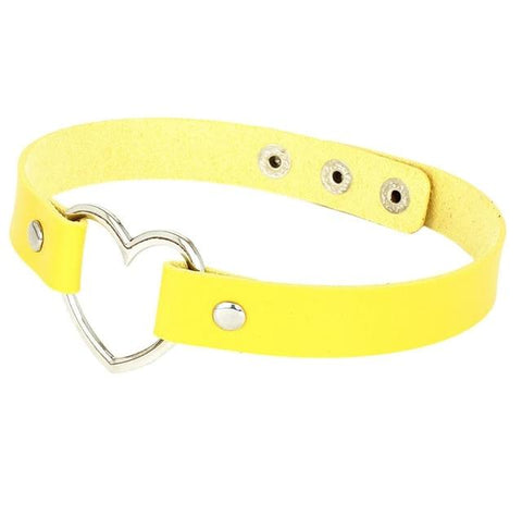 Image of Heart Ring Day Collar, Vegan Leather, 12 Colors, Choker - Day Collar - BDSM Collar Store