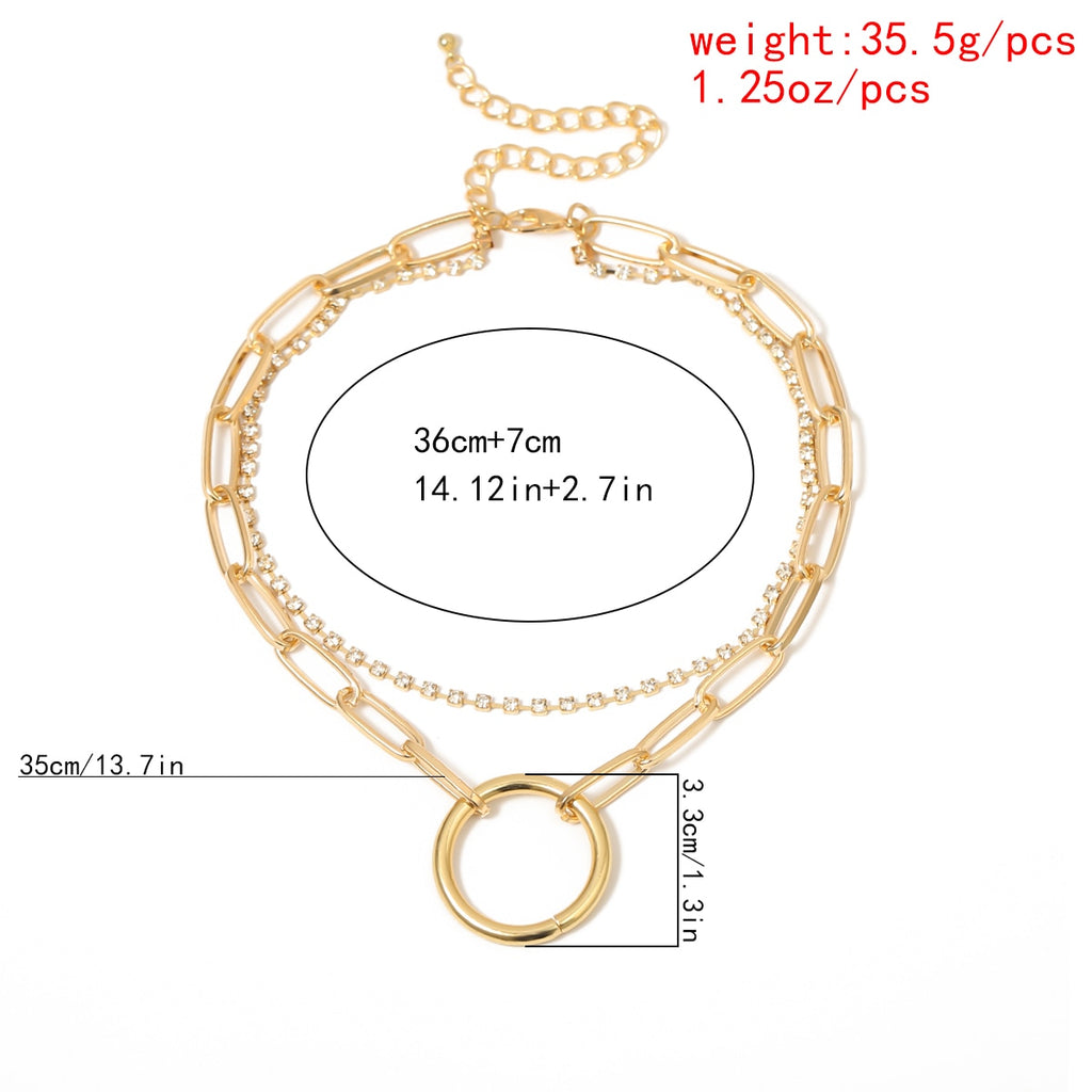 Crystal and Chain Layered Day Collar with Large Ring - Day Collar - BDSM Collar Store