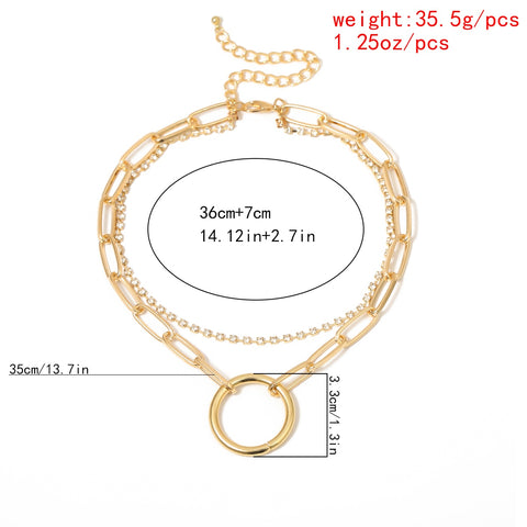 Image of Crystal and Chain Layered Day Collar with Large Ring - Day Collar - BDSM Collar Store