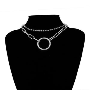 Crystal and Chain Layered Day Collar with Large Ring