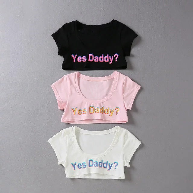 Yes Daddy? Short Crop Top - Clothing - BDSM Collar Store