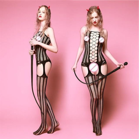 Crotchless Lingerie Bodystocking in Purple, Red, White or Black - Clothing - BDSM Collar Store