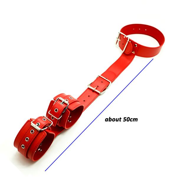 Collar With Behind-The-Back Cuffs, Red Vegan Leather - Cuffs - BDSM Collar Store