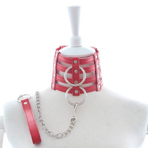 4-Tiered Vegan Leather Collar with Matching Leash, Red or Black - Collar - BDSM Collar Store
