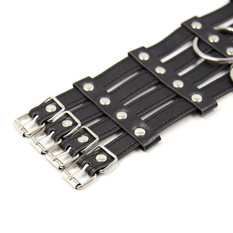 Image of 4-Tiered Vegan Leather Collar with Matching Leash, Red or Black - Collar - BDSM Collar Store