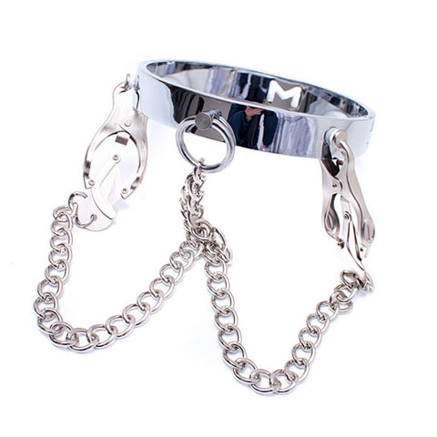 Image of Stainless Steel with Metal Nipple Clamps - Nipple Clamp - BDSM Collar Store