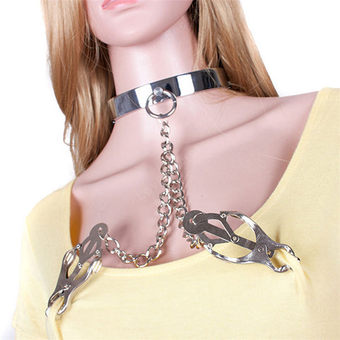 Image of Stainless Steel Collar with Metal Nipple Clamps - Nipple Clamp - BDSM Collar Store