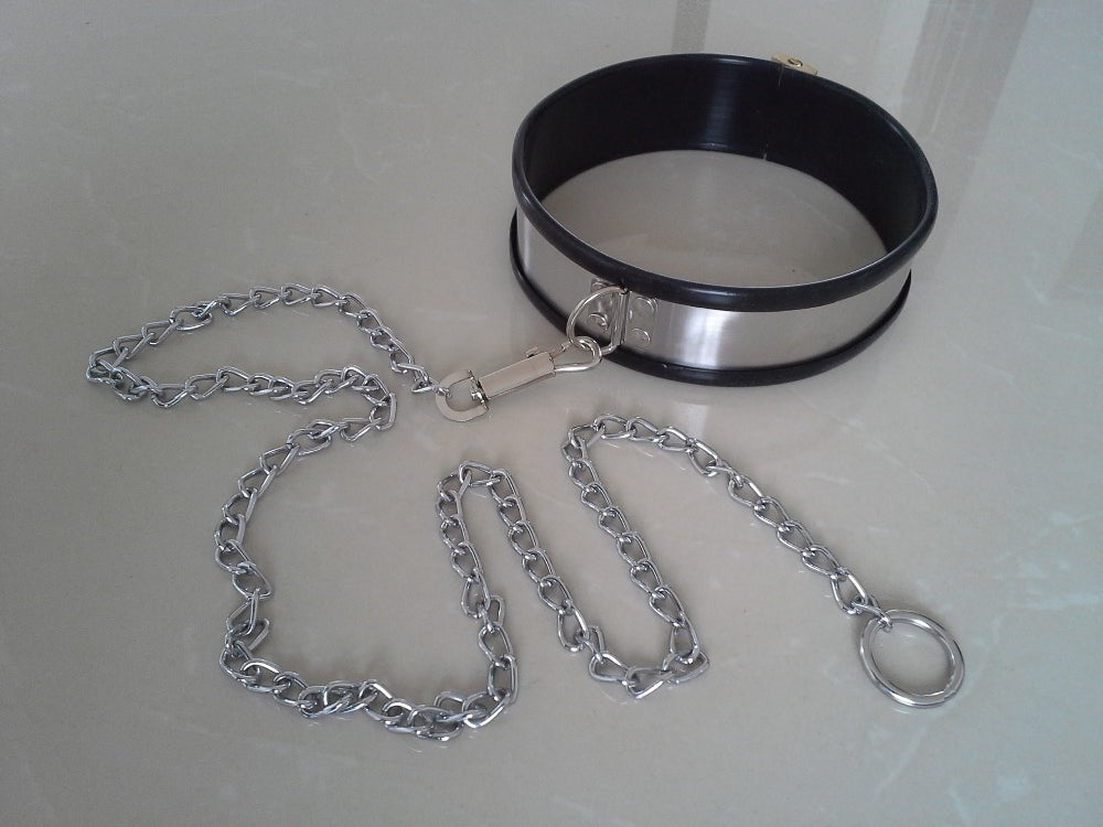 Stainless Steel Collar and Cuffs, Silicone-Lined -  - BDSM Collar Store