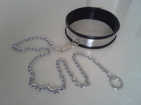 Image of Stainless Steel Collar and Cuffs, Silicone-Lined -  - BDSM Collar Store