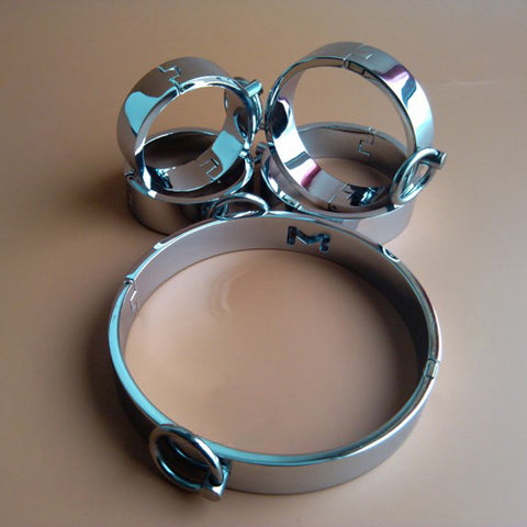 Collar and 4 Cuffs Set, Stainless Steel - Cuffs - BDSM Collar Store