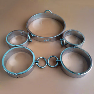 Collar and 4 Cuffs Set Stainless Steel - Cuffs - BDSM Collar Store