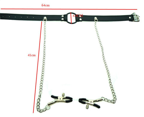 Image of Harness with O Ring Mouth Gag and Nipple Clamps - Nipple Clamp - BDSM Collar Store