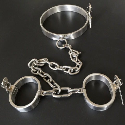 Image of Collar and Wrist Cuffs, Heavy-Duty, Stainless Steel, Locking - Cuffs - BDSM Collar Store