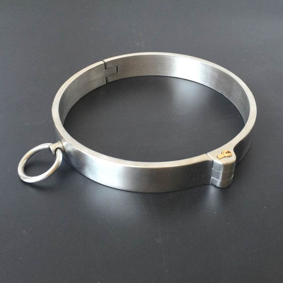 Collar and Wrist Cuffs, Heavy-Duty, Stainless Steel, Locking - Cuffs - BDSM Collar Store
