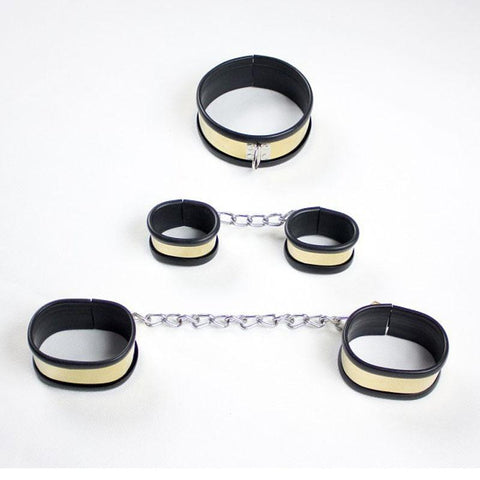 Image of Titanium Collar and Cuffs, Silicone Lined, Locks Included - Cuffs - BDSM Collar Store