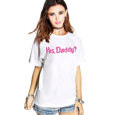 Image of Yes Daddy? Long Shirt, White or Black - Clothing - BDSM Collar Store