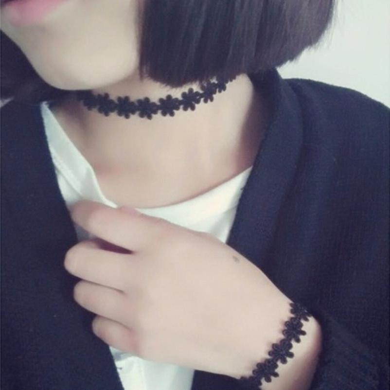 Black Snowflake Lace Day Collar - Day Collar - BDSM Collar Store