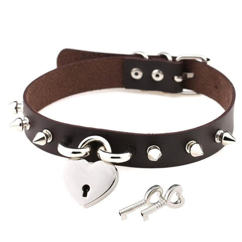 Heart Locket Day Collar Spiked Vegan Leather with Buckle 13 Colors Available - BDSM Collar Store