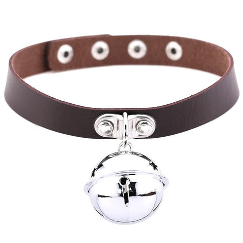Large Bell Collar, 16 Colors, Vegan Leather - Day Collar - BDSM Collar Store