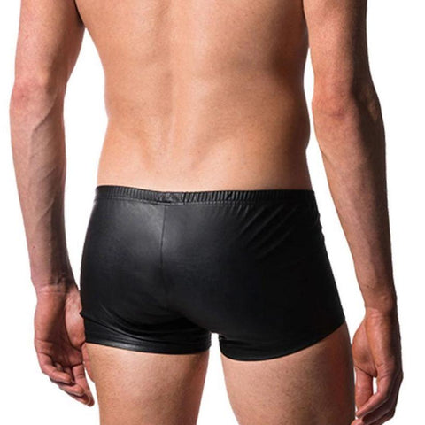 Image of Men's Bulge Pouch Boxer Briefs, Black Vegan Leather - Clothing - BDSM Collar Store
