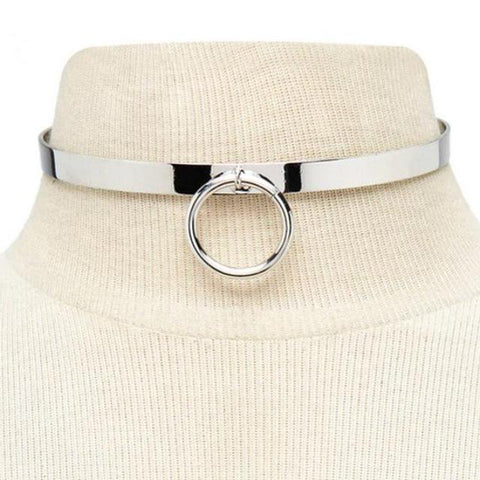 Image of Day Collar, Infinity Collar with Costume Ring, Silver and Gold Colors - Day Collar - BDSM Collar Store