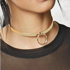 Day Collar, Infinity Collar with Costume Ring, Silver and Gold Colors