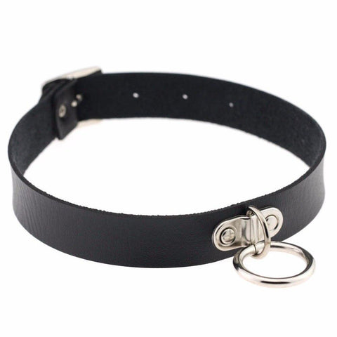 Image of Vegan Leather Collar 13 Colors Medium Ring Adjustable - Collar - BDSM Collar Store