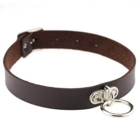 Vegan Leather Collar 13 Colors Medium Ring Adjustable - Collar - BDSM Collar Store