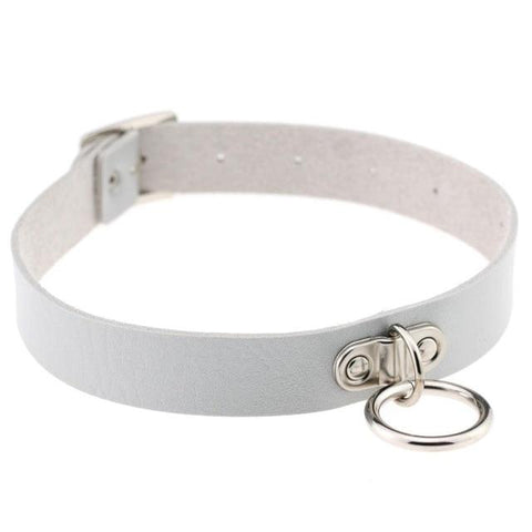 Vegan Leather Collar 13 Colors Medium Ring Adjustable - BDSM Collar Store