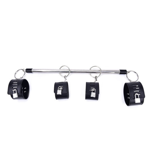 Spreader Bar, 4 Cuffs, Vegan Leather and Metal, with Locks, Red or Black - Cuffs - BDSM Collar Store